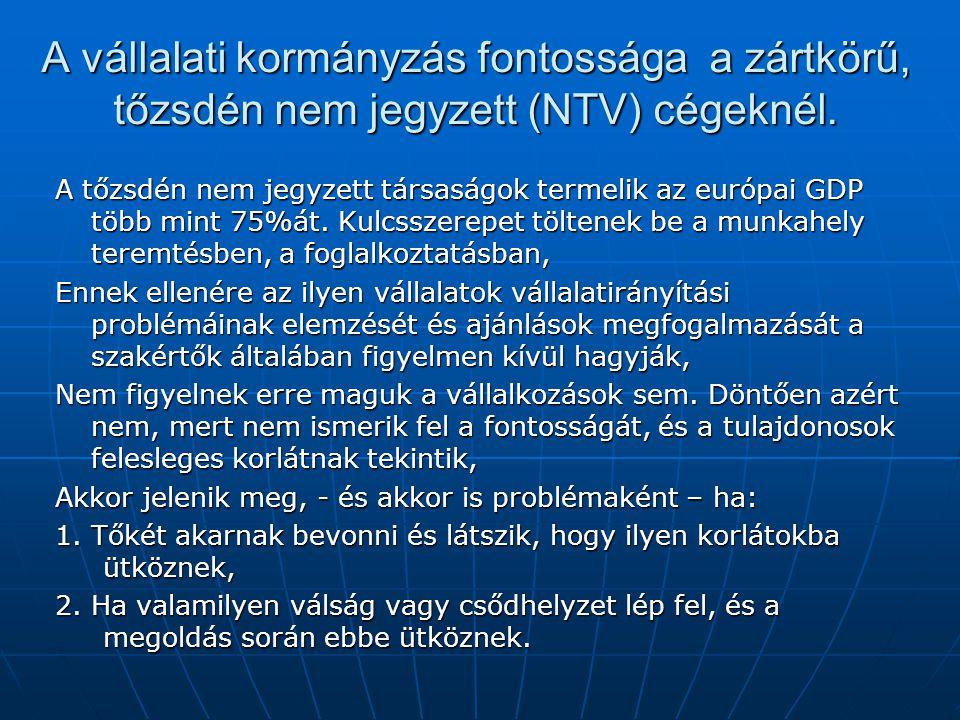 A vállalati kormányzás fontossága a zártkörű, tőzsdén nem jegyzett (NTV) cégeknél. A tőzsdén nem jegyzett társaságok termelik az európai GDP több mint