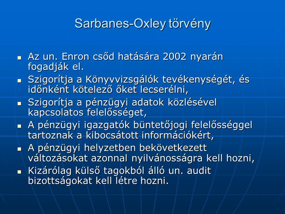 Sarbanes-Oxley törvény  Az un. Enron csőd hatására 2002 nyarán fogadják el.  Szigorítja a Könyvvizsgálók tevékenységét, és időnként kötelező őket le