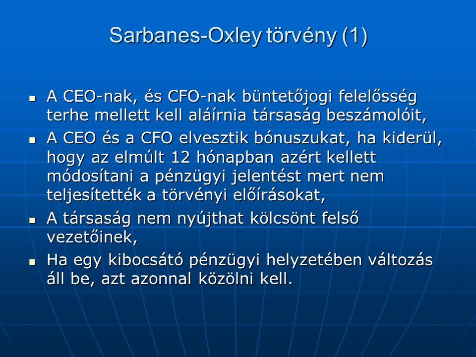 Sarbanes-Oxley törvény (1)  A CEO-nak, és CFO-nak büntetőjogi felelősség terhe mellett kell aláírnia társaság beszámolóit,  A CEO és a CFO elvesztik bónuszukat, ha kiderül, hogy az elmúlt 12 hónapban azért kellett módosítani a pénzügyi jelentést mert nem teljesítették a törvényi előírásokat,  A társaság nem nyújthat kölcsönt felső vezetőinek,  Ha egy kibocsátó pénzügyi helyzetében változás áll be, azt azonnal közölni kell.