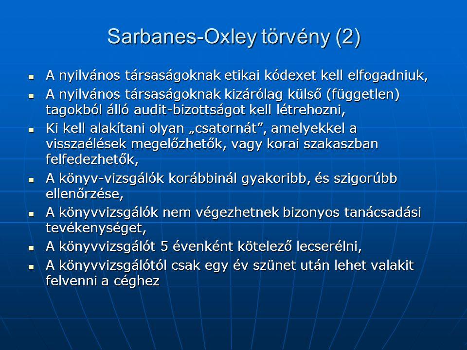 Sarbanes-Oxley törvény (2)  A nyilvános társaságoknak etikai kódexet kell elfogadniuk,  A nyilvános társaságoknak kizárólag külső (független) tagokb