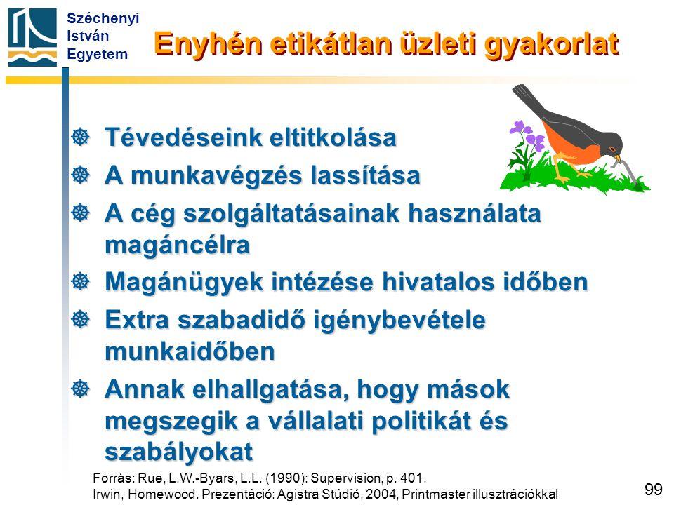 Széchenyi István Egyetem 99 Enyhén etikátlan üzleti gyakorlat  Tévedéseink eltitkolása  A munkavégzés lassítása  A cég szolgáltatásainak használata