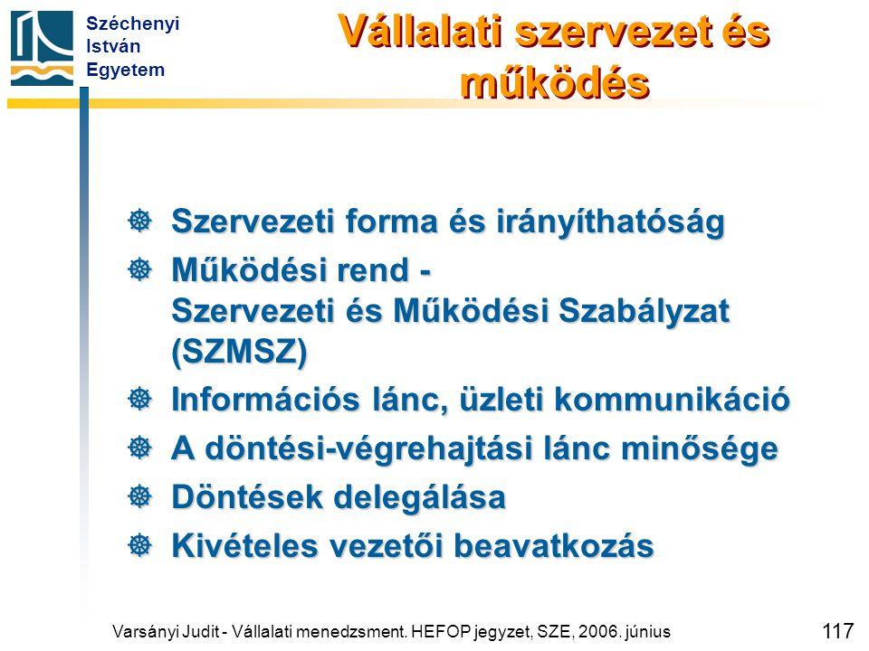Széchenyi István Egyetem 117 Vállalati szervezet és működés  Szervezeti forma és irányíthatóság  Működési rend - Szervezeti és Működési Szabályzat (