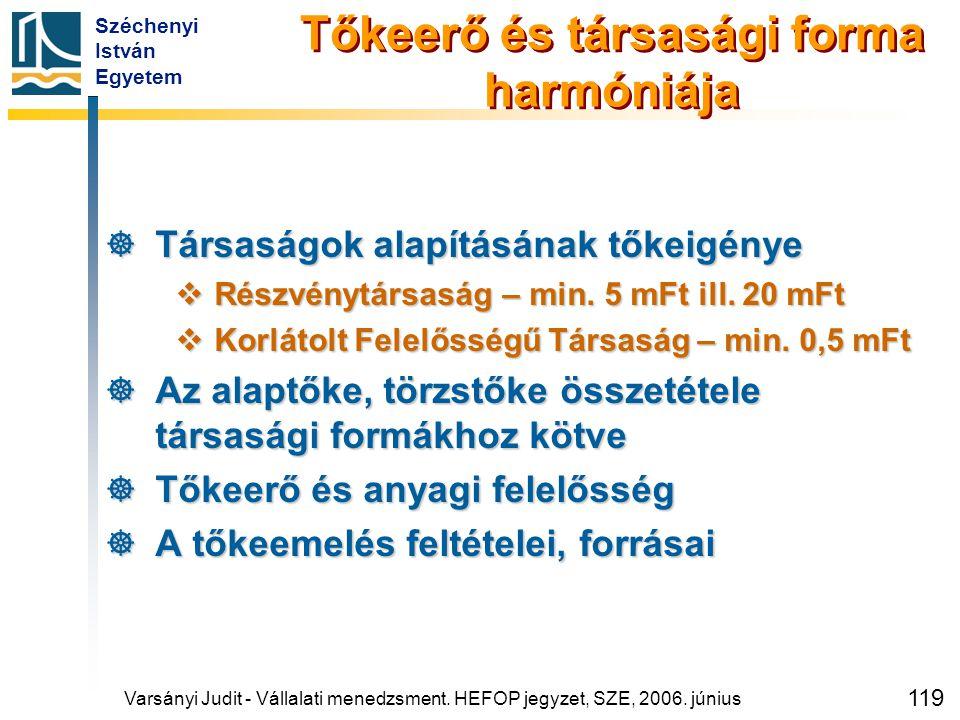 Széchenyi István Egyetem 119 Tőkeerő és társasági forma harmóniája  Társaságok alapításának tőkeigénye  Részvénytársaság – min. 5 mFt ill. 20 mFt 