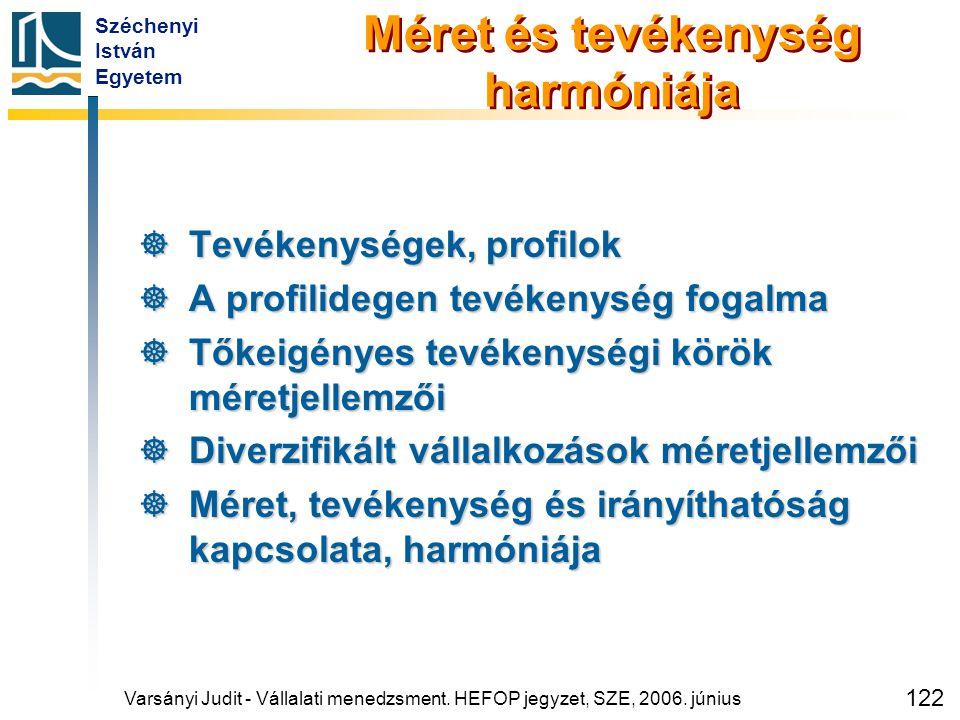 Széchenyi István Egyetem 122 Méret és tevékenység harmóniája  Tevékenységek, profilok  A profilidegen tevékenység fogalma  Tőkeigényes tevékenységi