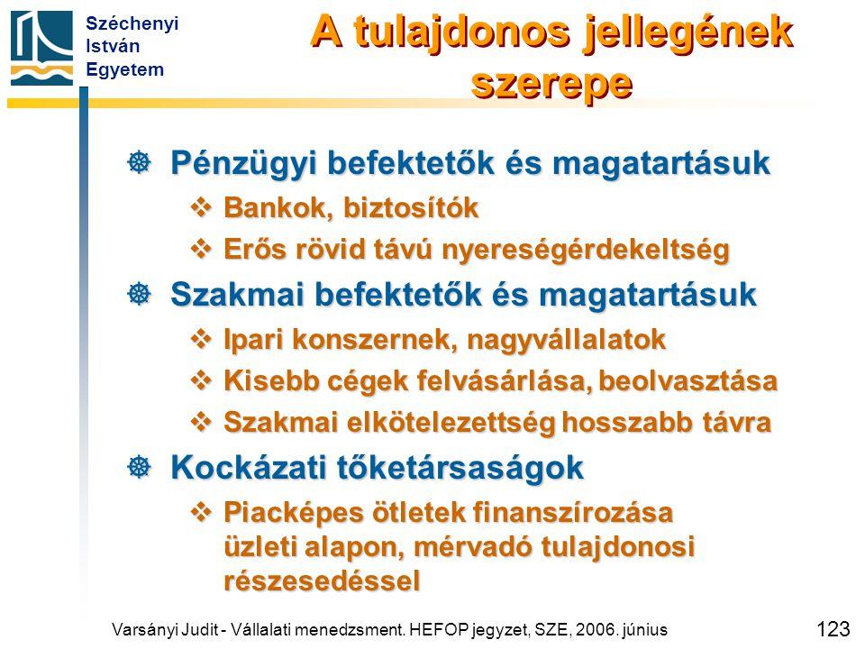 Széchenyi István Egyetem 123 A tulajdonos jellegének szerepe  Pénzügyi befektetők és magatartásuk  Bankok, biztosítók  Erős rövid távú nyereségérde