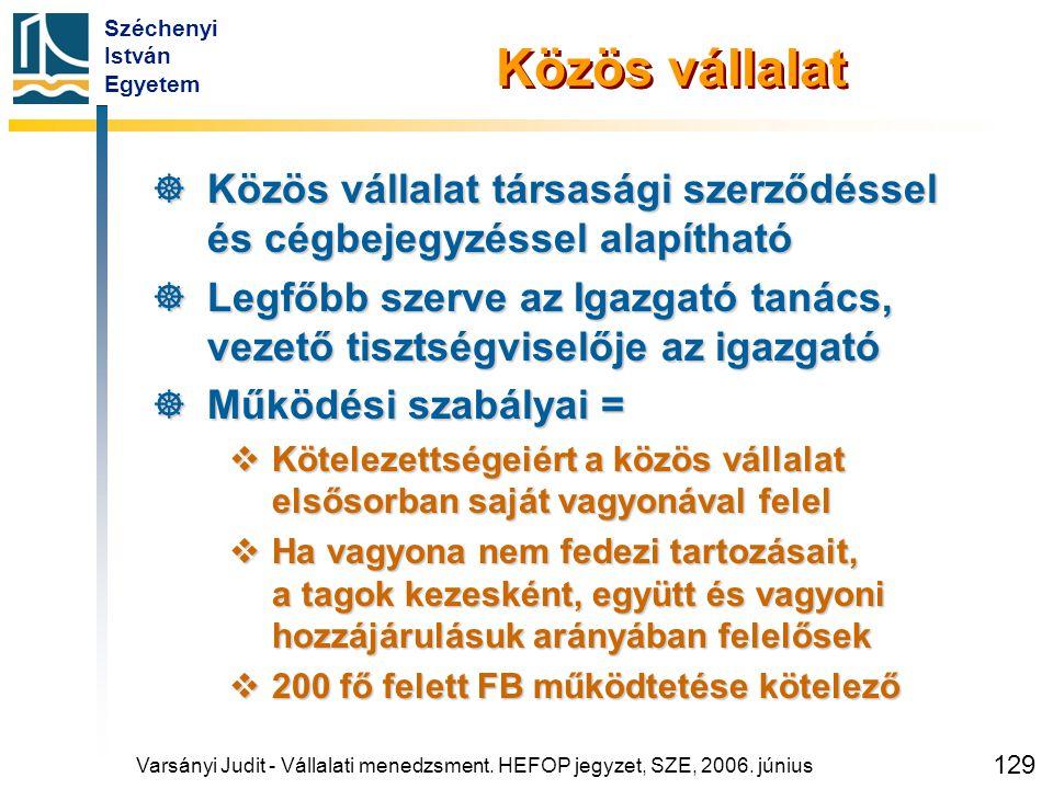 Széchenyi István Egyetem 129 Varsányi Judit - Vállalati menedzsment. HEFOP jegyzet, SZE, 2006. június Közös vállalat  Közös vállalat társasági szerző