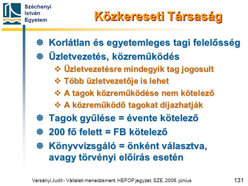 Széchenyi István Egyetem 131 Varsányi Judit - Vállalati menedzsment. HEFOP jegyzet, SZE, 2006. június Közkereseti Társaság  Korlátlan és egyetemleges