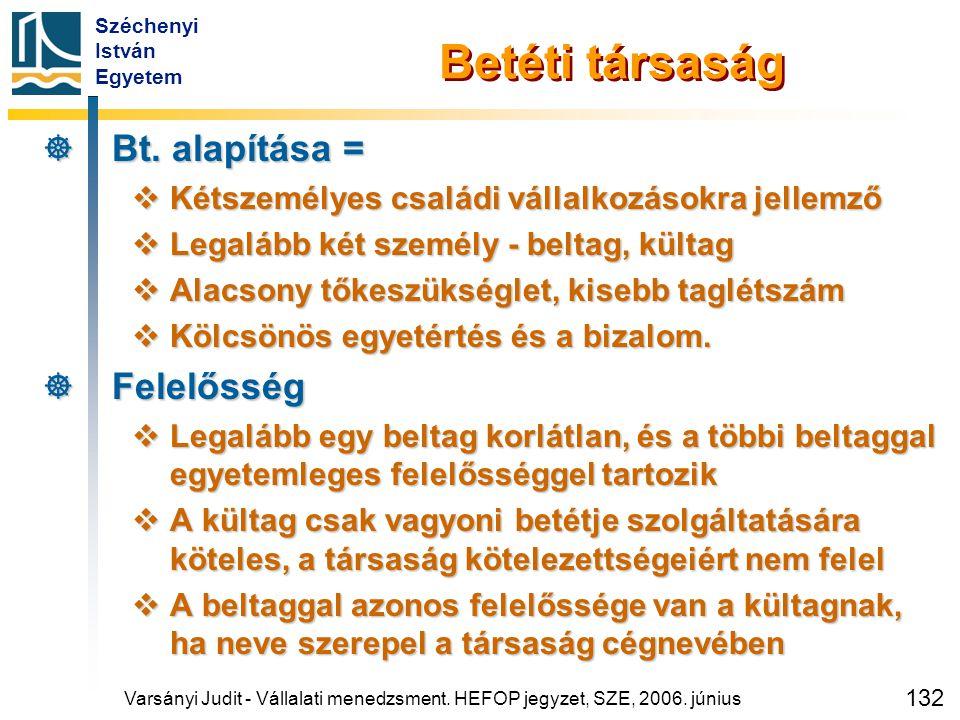 Széchenyi István Egyetem 132 Varsányi Judit - Vállalati menedzsment. HEFOP jegyzet, SZE, 2006. június Betéti társaság  Bt. alapítása =  Kétszemélyes