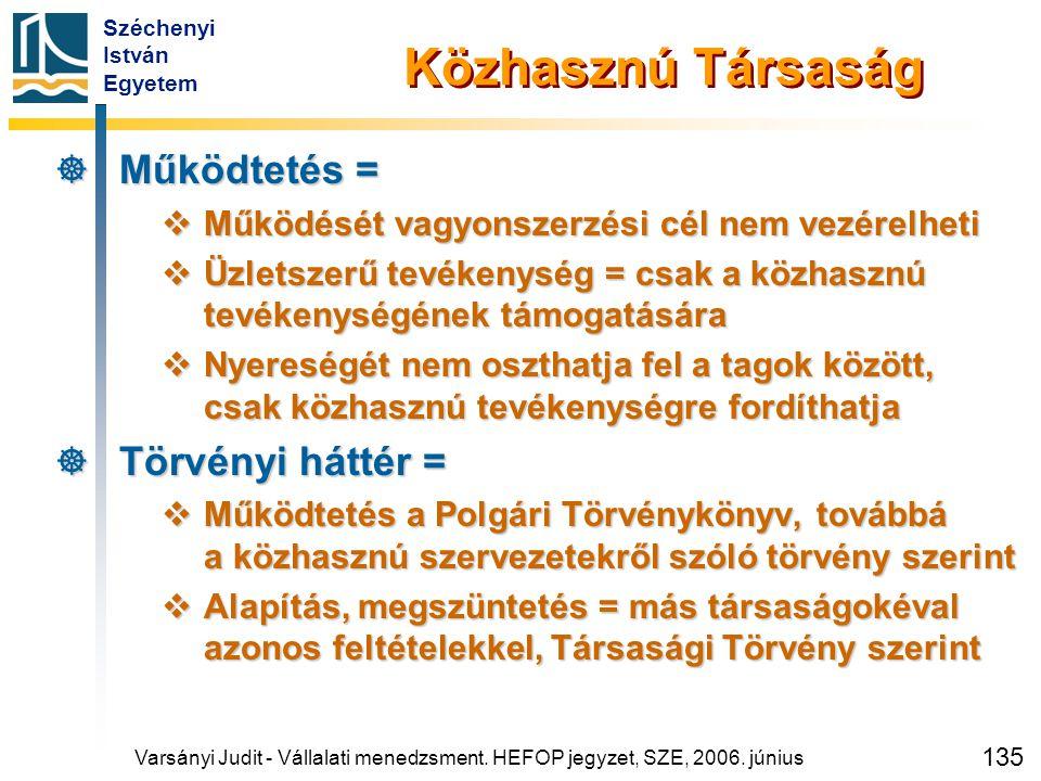 Széchenyi István Egyetem 135 Varsányi Judit - Vállalati menedzsment. HEFOP jegyzet, SZE, 2006. június Közhasznú Társaság  Működtetés =  Működését va