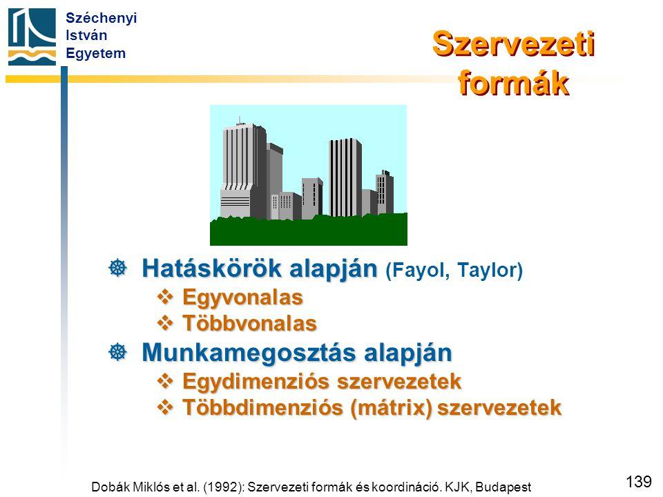 Széchenyi István Egyetem 139 Szervezeti formák  Hatáskörök alapján  Hatáskörök alapján (Fayol, Taylor)  Egyvonalas  Többvonalas  Munkamegosztás a