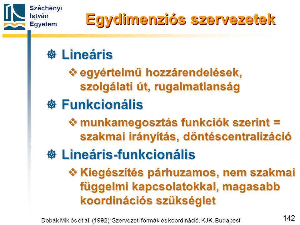 Széchenyi István Egyetem 142 Egydimenziós szervezetek  Lineáris  egyértelmű hozzárendelések, szolgálati út, rugalmatlanság  Funkcionális  munkameg