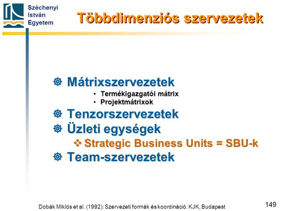 Széchenyi István Egyetem 149 Többdimenziós szervezetek  Mátrixszervezetek •Termékigazgatói mátrix •Projektmátrixok  Tenzorszervezetek  Üzleti egysé