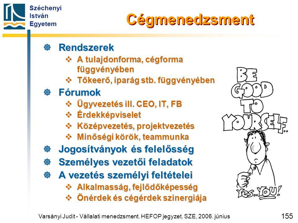 Széchenyi István Egyetem 155 Cégmenedzsment  Rendszerek  A tulajdonforma, cégforma függvényében  Tőkeerő, iparág stb. függvényében  Fórumok  Ügyv