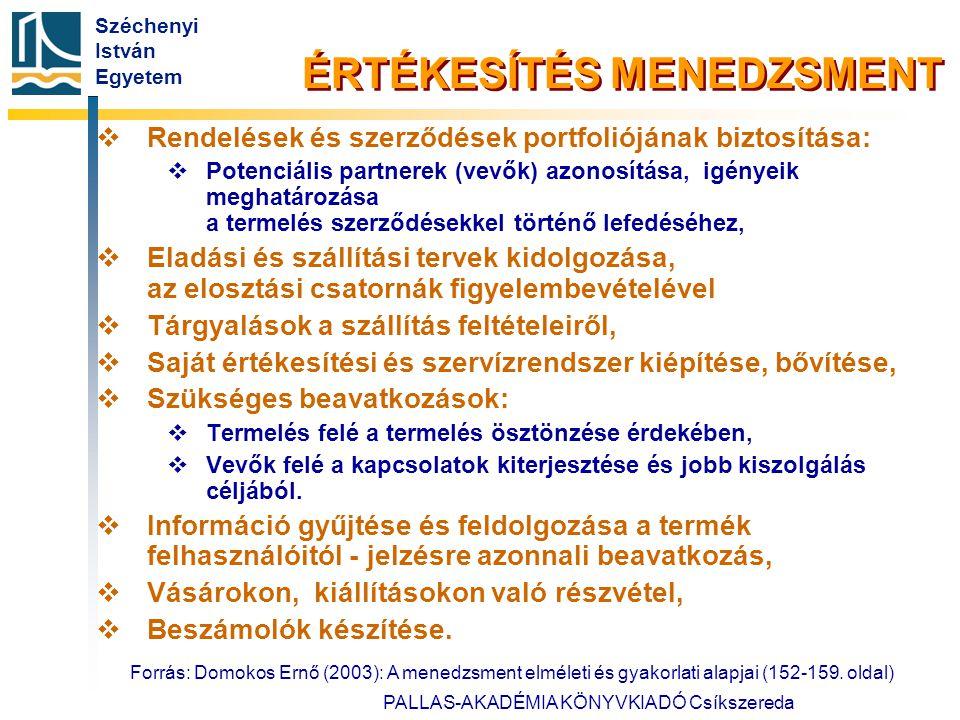 Széchenyi István Egyetem Forrás: Domokos Ernő (2003): A menedzsment elméleti és gyakorlati alapjai (152-159. oldal) PALLAS-AKADÉMIA KÖNYVKIADÓ Csíksze
