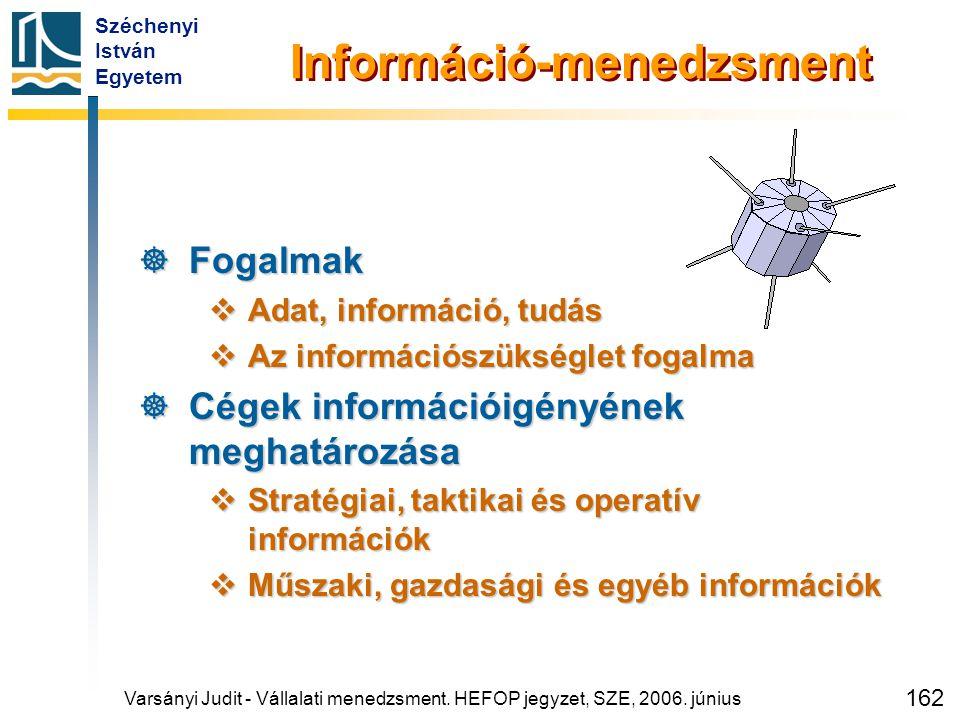 Széchenyi István Egyetem 162 Információ-menedzsment  Fogalmak  Adat, információ, tudás  Az információszükséglet fogalma  Cégek információigényének