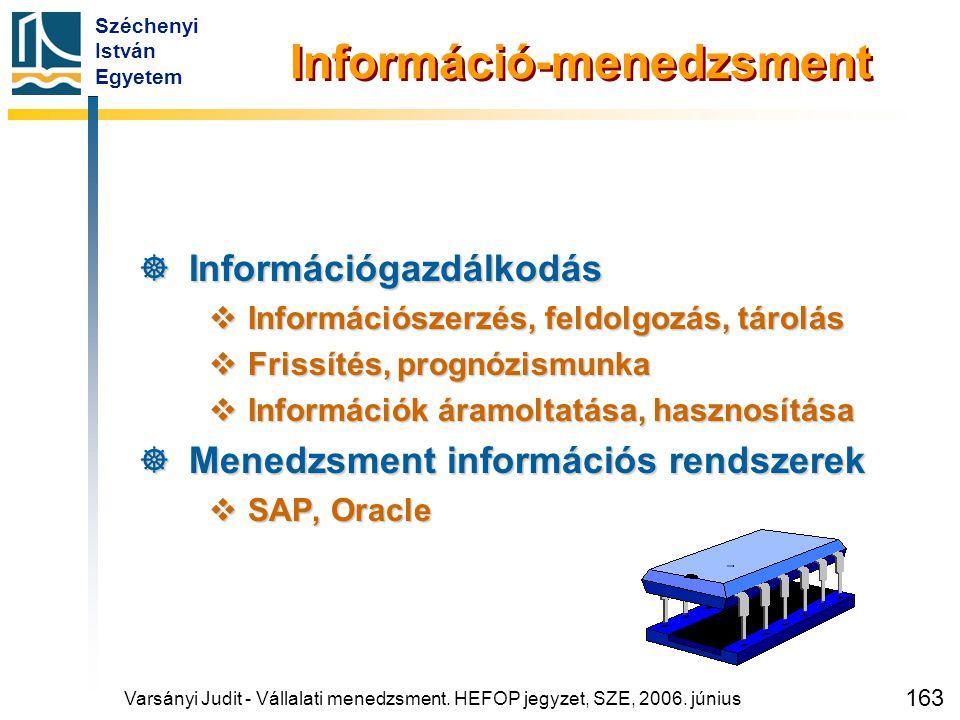 Széchenyi István Egyetem 163 Információ-menedzsment  Információgazdálkodás  Információszerzés, feldolgozás, tárolás  Frissítés, prognózismunka  In