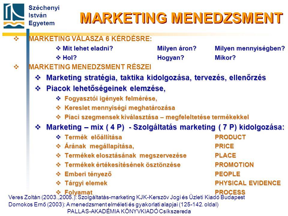 Széchenyi István Egyetem Veres Zoltán (2003.,2005.): Szolgáltatás-marketing KJK-Kerszöv Jogi és Üzleti Kiadó Budapest Domokos Ernő (2003): A menedzsme