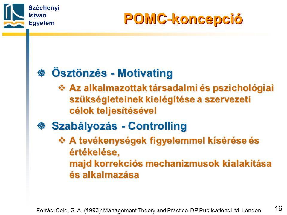 Széchenyi István Egyetem 16 Forrás: Cole, G. A. (1993): Management Theory and Practice. DP Publications Ltd. London POMC-koncepció  Ösztönzés - Motiv