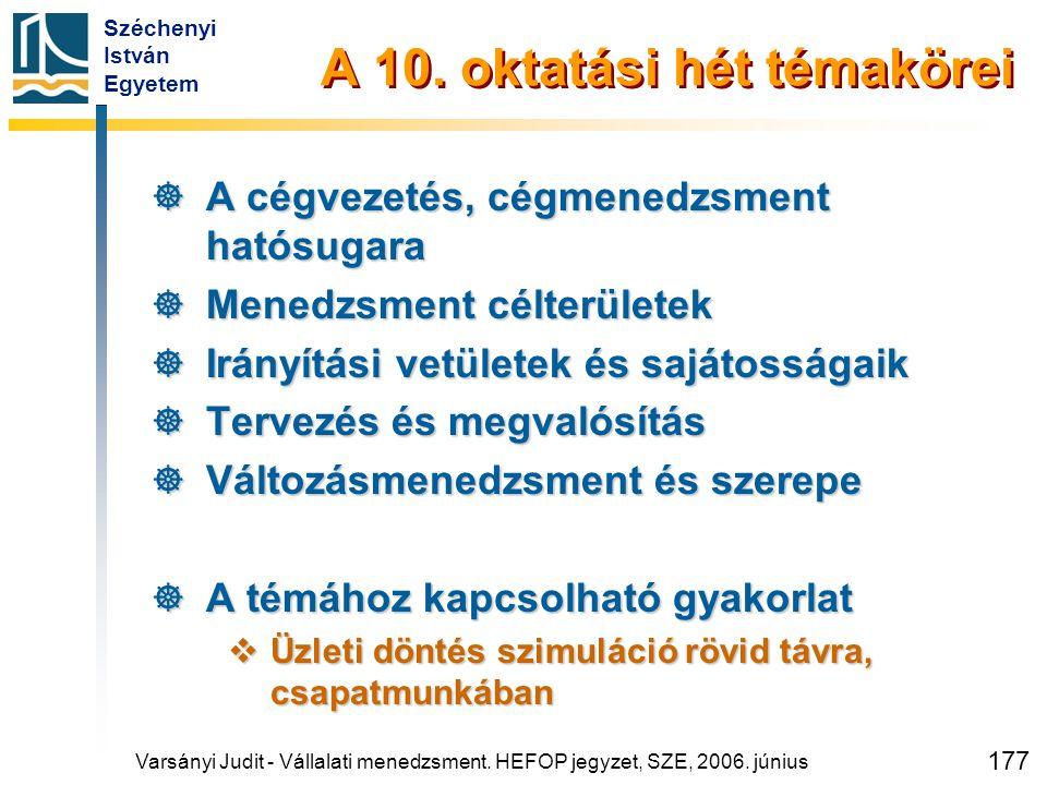 Széchenyi István Egyetem 177 A 10. oktatási hét témakörei  A cégvezetés, cégmenedzsment hatósugara  Menedzsment célterületek  Irányítási vetületek