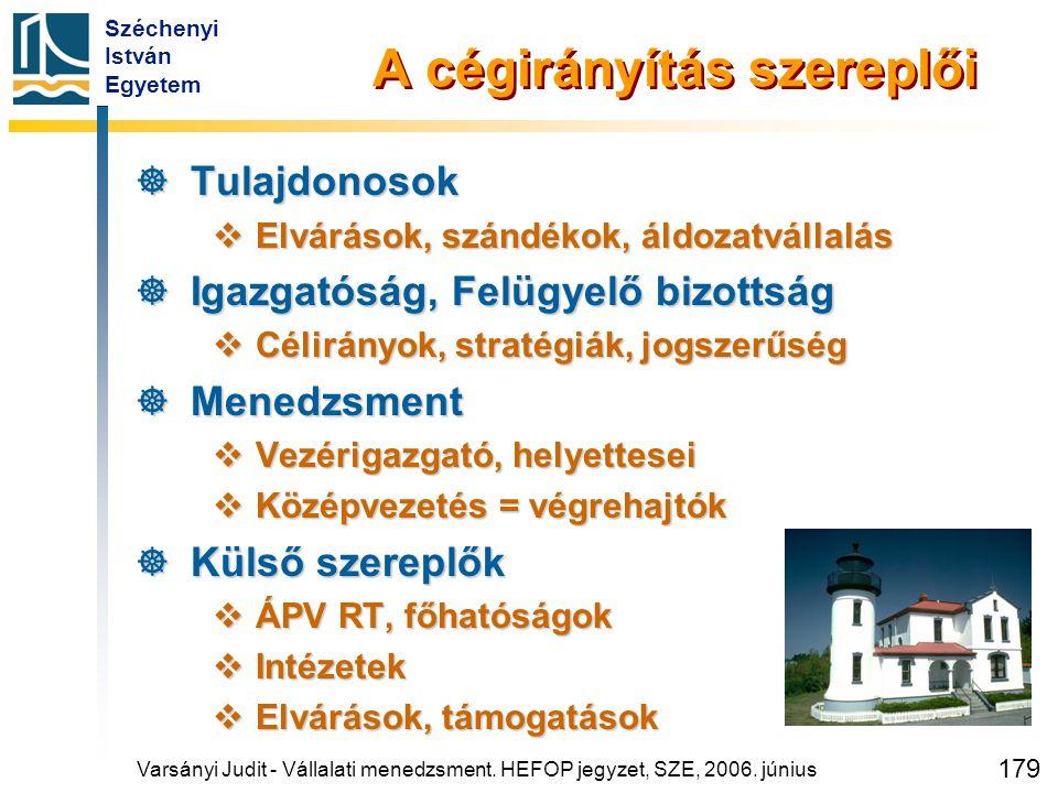 Széchenyi István Egyetem 179 A cégirányítás szereplői  Tulajdonosok  Elvárások, szándékok, áldozatvállalás  Igazgatóság, Felügyelő bizottság  Céli