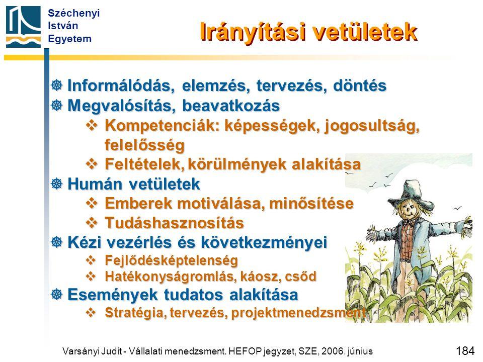 Széchenyi István Egyetem 184 Irányítási vetületek  Informálódás, elemzés, tervezés, döntés  Megvalósítás, beavatkozás  Kompetenciák: képességek, jo