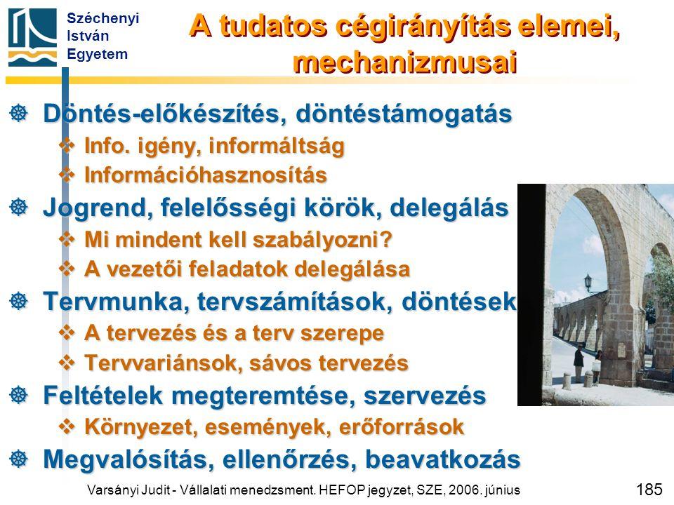 Széchenyi István Egyetem 185 A tudatos cégirányítás elemei, mechanizmusai  Döntés-előkészítés, döntéstámogatás  Info. igény, informáltság  Informác