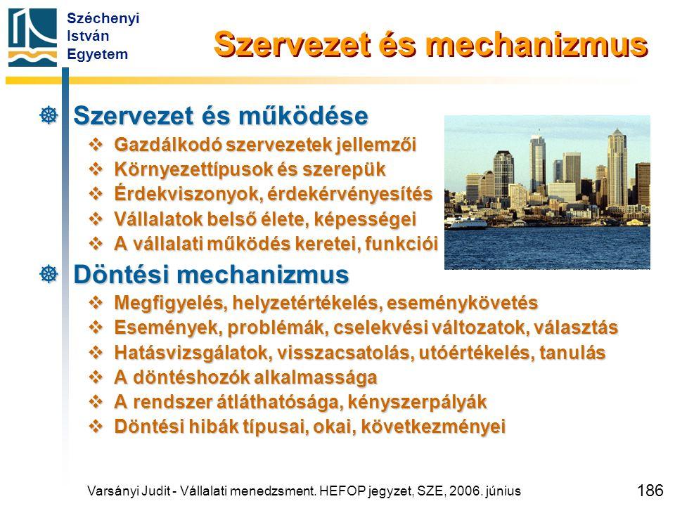 Széchenyi István Egyetem 186 Szervezet és mechanizmus  Szervezet és működése  Gazdálkodó szervezetek jellemzői  Környezettípusok és szerepük  Érde