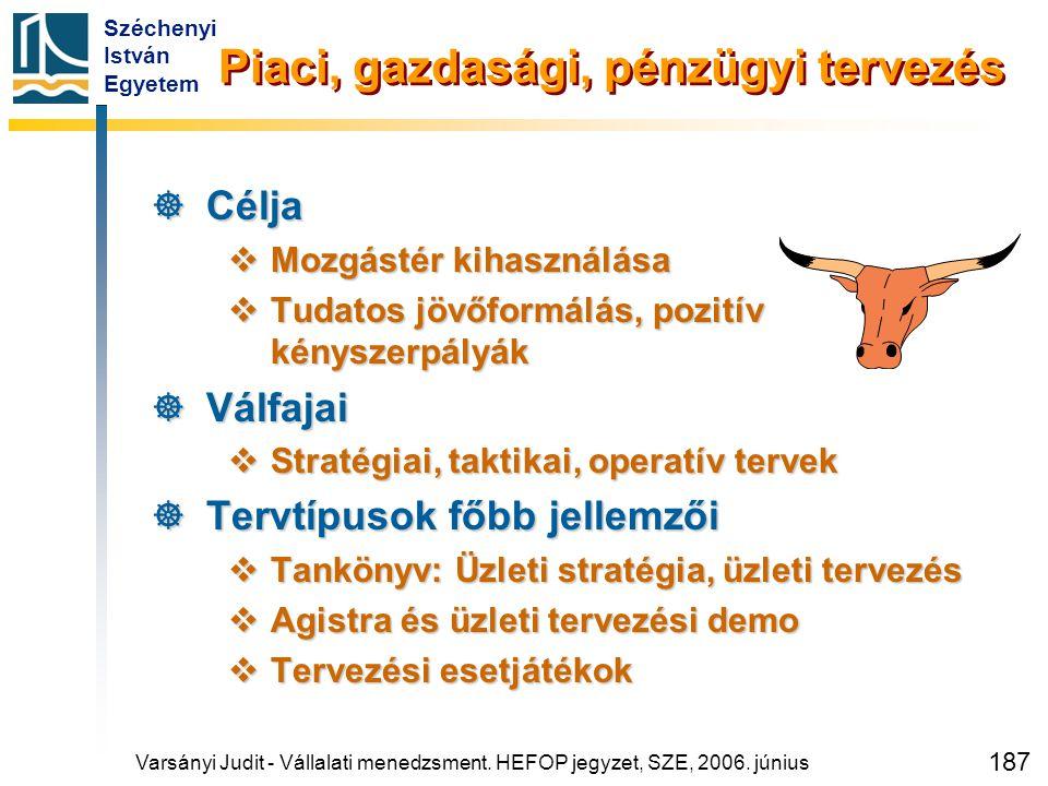 Széchenyi István Egyetem 187 Piaci, gazdasági, pénzügyi tervezés  Célja  Mozgástér kihasználása  Tudatos jövőformálás, pozitív kényszerpályák  Vál