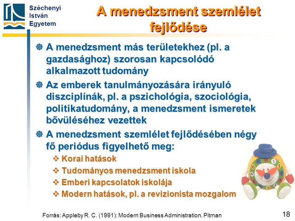 Széchenyi István Egyetem 18 Forrás: Appleby R. C. (1991): Modern Business Administration. Pitman A menedzsment szemlélet fejlődése  A menedzsment más