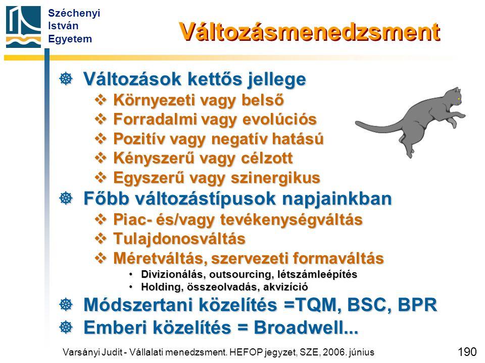 Széchenyi István Egyetem 190 Változásmenedzsment  Változások kettős jellege  Környezeti vagy belső  Forradalmi vagy evolúciós  Pozitív vagy negatí