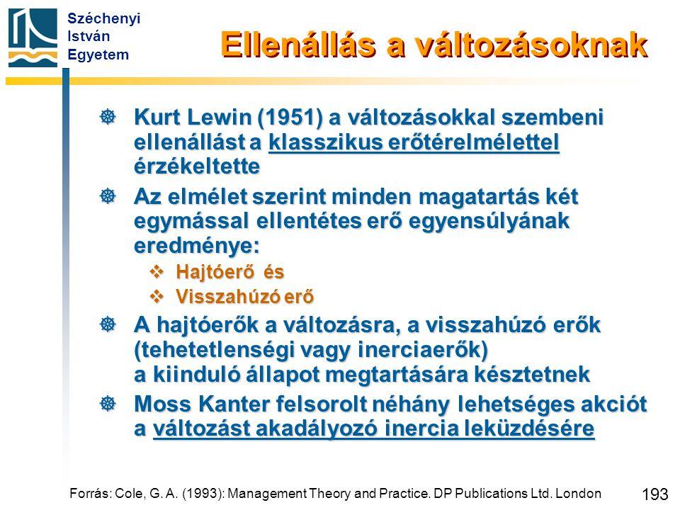 Széchenyi István Egyetem 193 Forrás: Cole, G. A. (1993): Management Theory and Practice. DP Publications Ltd. London Ellenállás a változásoknak  Kurt