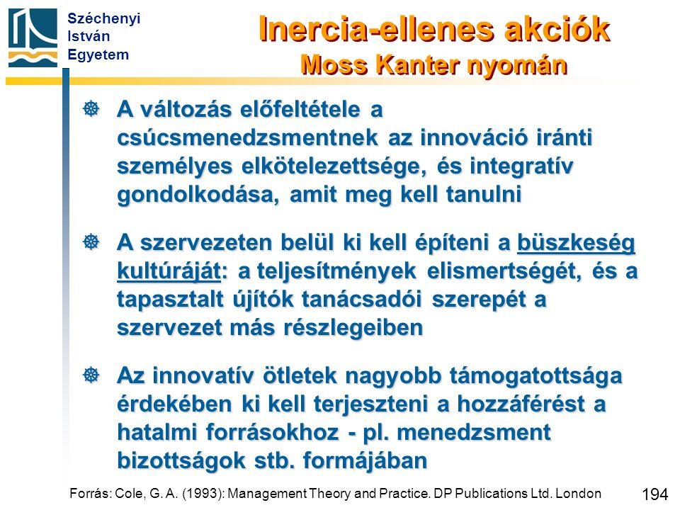Széchenyi István Egyetem 194 Inercia-ellenes akciók Moss Kanter nyomán  A változás előfeltétele a csúcsmenedzsmentnek az innováció iránti személyes e