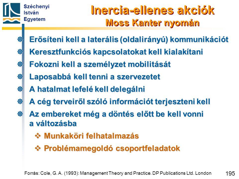 Széchenyi István Egyetem 195 Inercia-ellenes akciók Moss Kanter nyomán  Erősíteni kell a laterális (oldalirányú) kommunikációt  Keresztfunkciós kapc