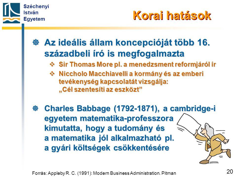 Széchenyi István Egyetem 20 Forrás: Appleby R. C. (1991): Modern Business Administration. Pitman Korai hatások  Az ideális állam koncepcióját több 16