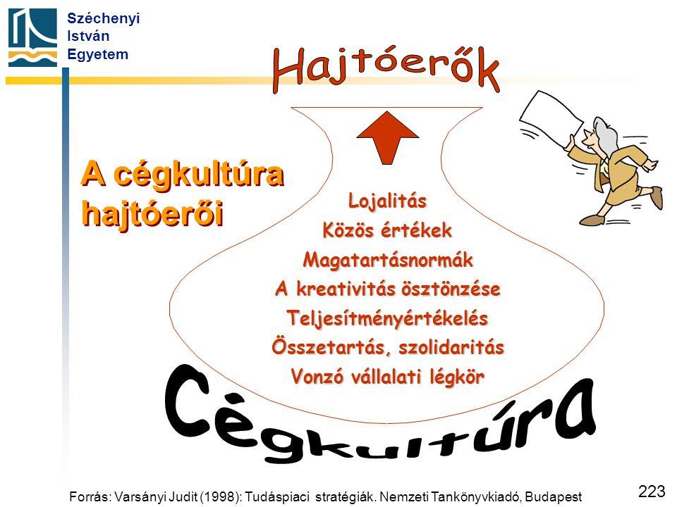 Széchenyi István Egyetem 223 Lojalitás Közös értékek Magatartásnormák A kreativitás ösztönzése Teljesítményértékelés Összetartás, szolidaritás Vonzó v