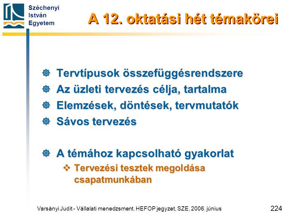 Széchenyi István Egyetem 224 A 12. oktatási hét témakörei  Tervtípusok összefüggésrendszere  Az üzleti tervezés célja, tartalma  Elemzések, döntése