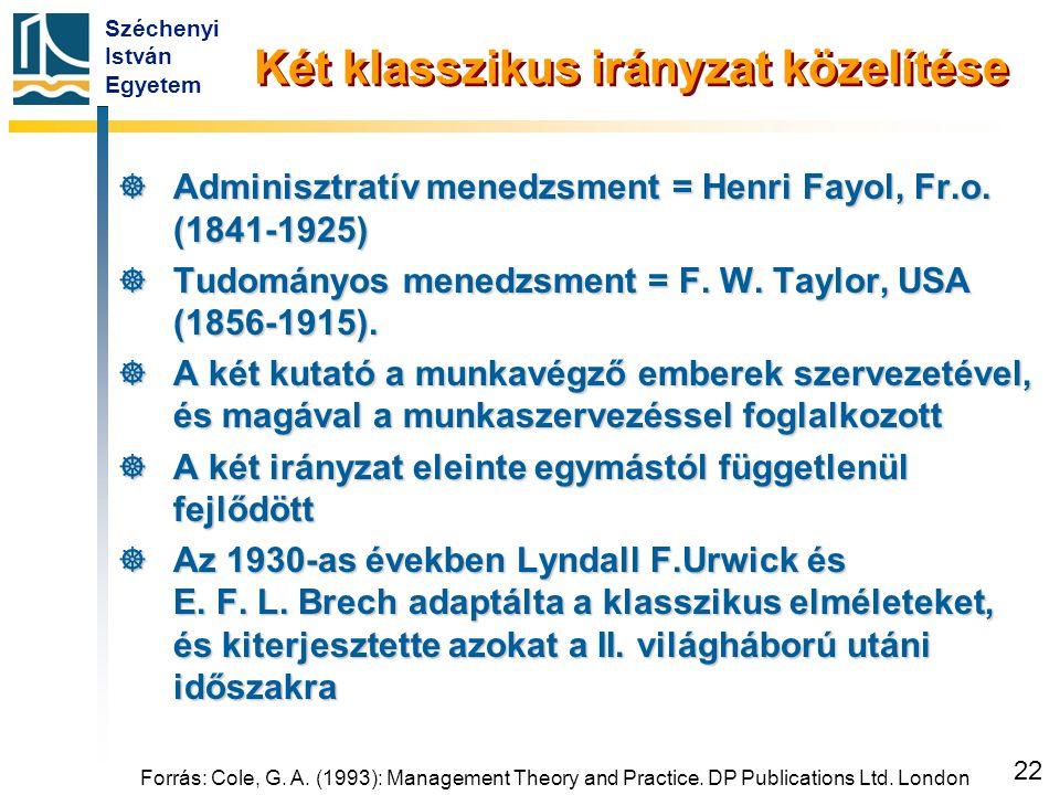 Széchenyi István Egyetem 22 Két klasszikus irányzat közelítése  Adminisztratív menedzsment = Henri Fayol, Fr.o. (1841-1925)  Tudományos menedzsment