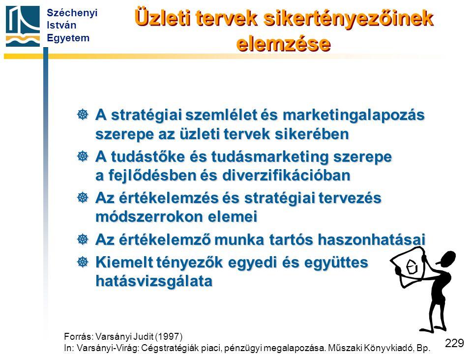Széchenyi István Egyetem 229 Üzleti tervek sikertényezőinek elemzése  A stratégiai szemlélet és marketingalapozás szerepe az üzleti tervek sikerében