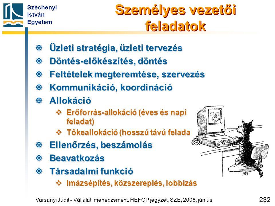 Széchenyi István Egyetem 232 Személyes vezetői feladatok  Üzleti stratégia, üzleti tervezés  Döntés-előkészítés, döntés  Feltételek megteremtése, s