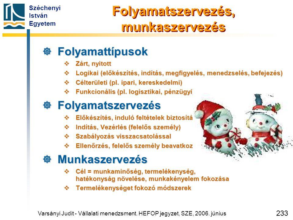 Széchenyi István Egyetem 233 Folyamatszervezés, munkaszervezés  Folyamattípusok  Zárt, nyitott  Logikai (előkészítés, indítás, megfigyelés, menedzs