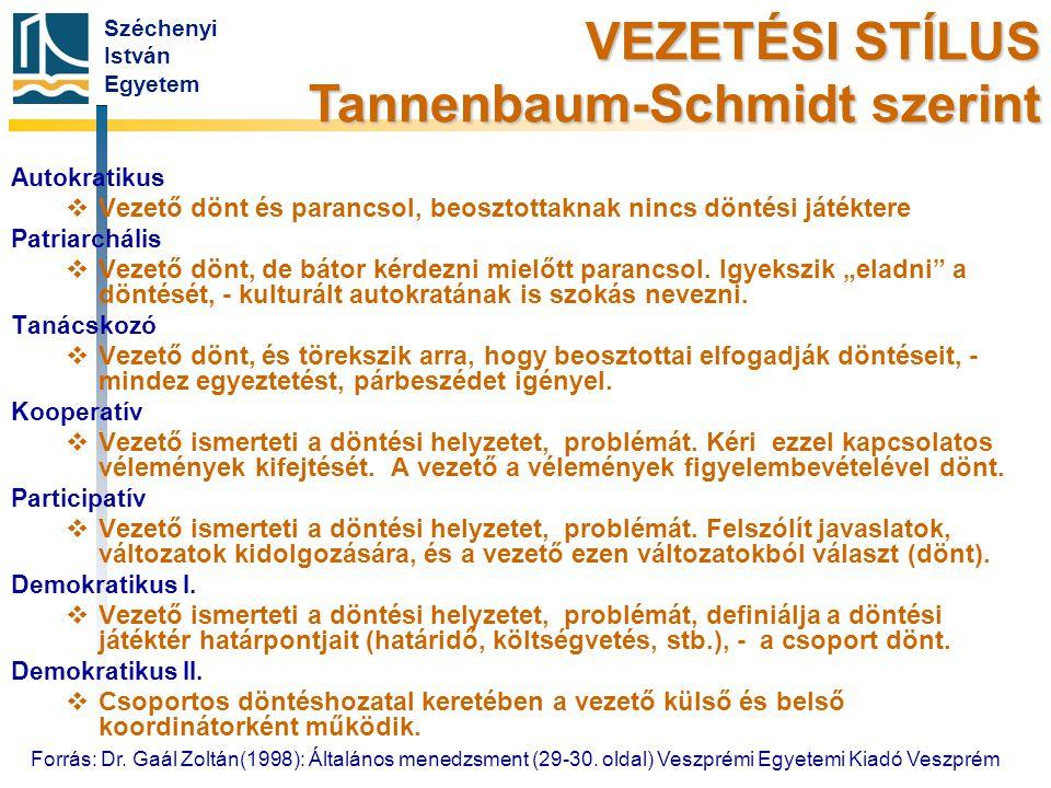Széchenyi István Egyetem Autokratikus   Vezető dönt és parancsol, beosztottaknak nincs döntési játéktere Patriarchális   Vezető dönt, de bátor kér