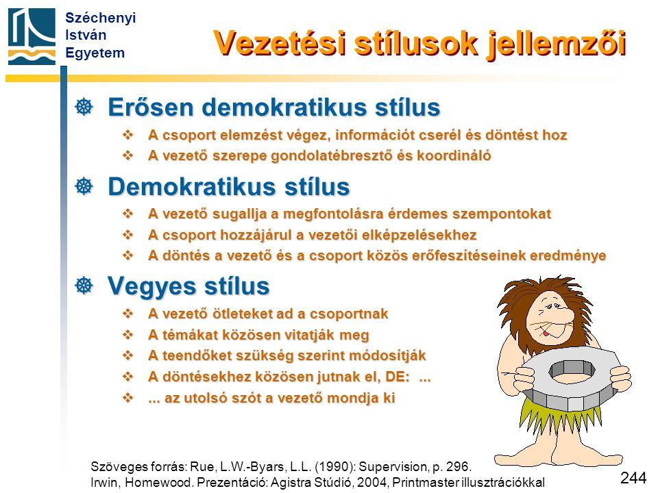 Széchenyi István Egyetem 244 Vezetési stílusok jellemzői  Erősen demokratikus stílus  A csoport elemzést végez, információt cserél és döntést hoz 