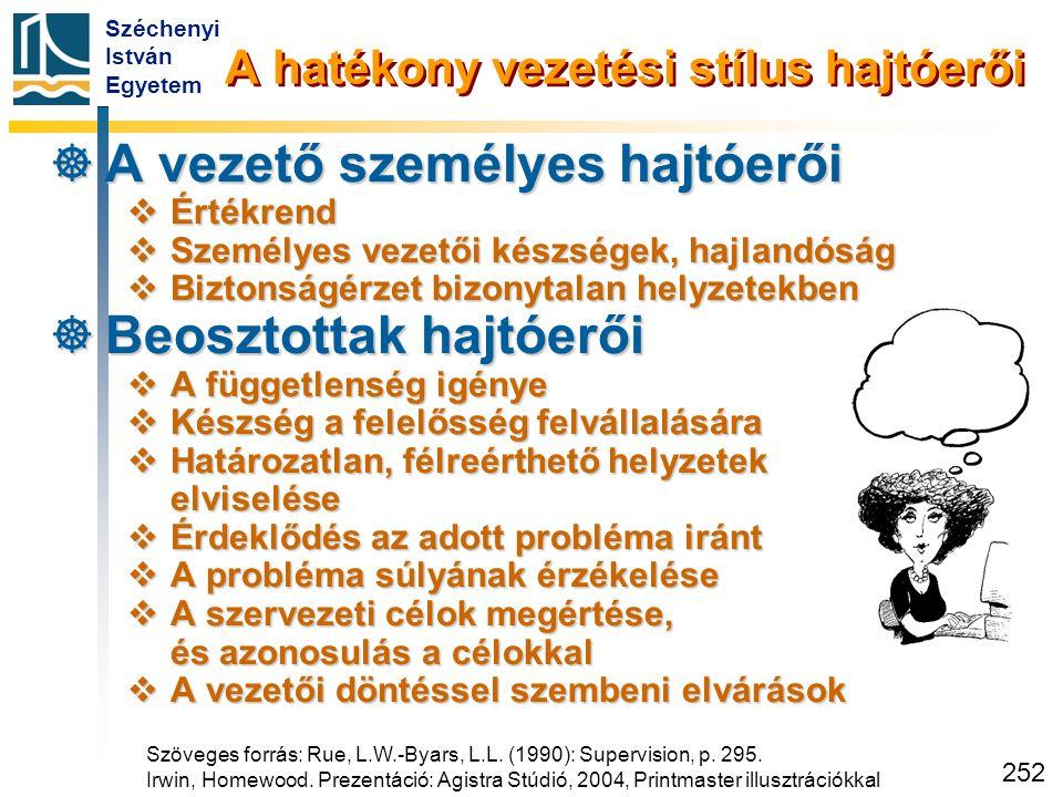 Széchenyi István Egyetem 252 A hatékony vezetési stílus hajtóerői  A vezető személyes hajtóerői  Értékrend  Személyes vezetői készségek, hajlandósá