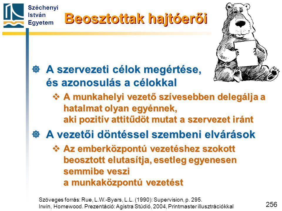 Széchenyi István Egyetem 256 Beosztottak hajtóerői  A szervezeti célok megértése, és azonosulás a célokkal  A munkahelyi vezető szívesebben delegálj