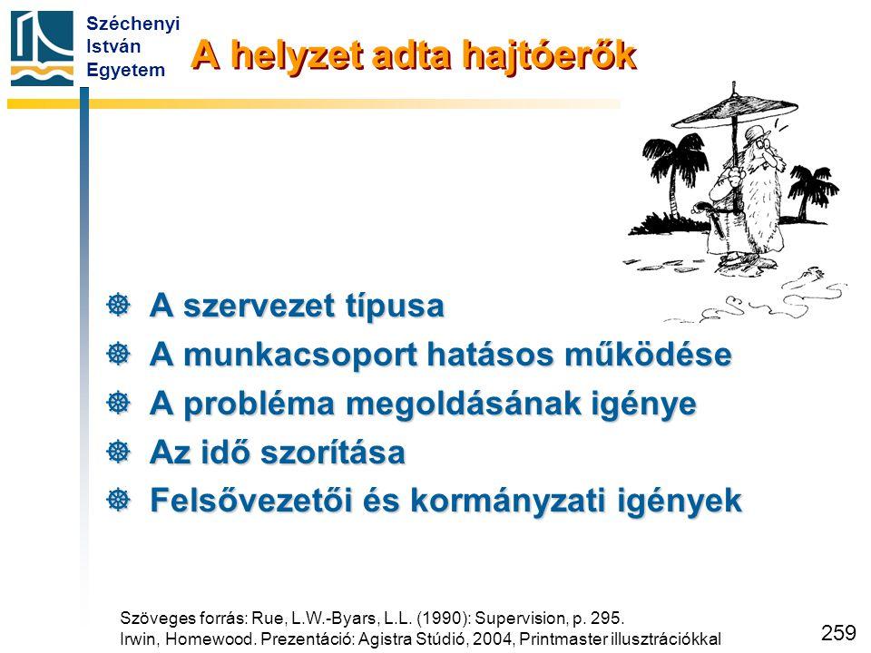 Széchenyi István Egyetem 259 A helyzet adta hajtóerők  A szervezet típusa  A munkacsoport hatásos működése  A probléma megoldásának igénye  Az idő