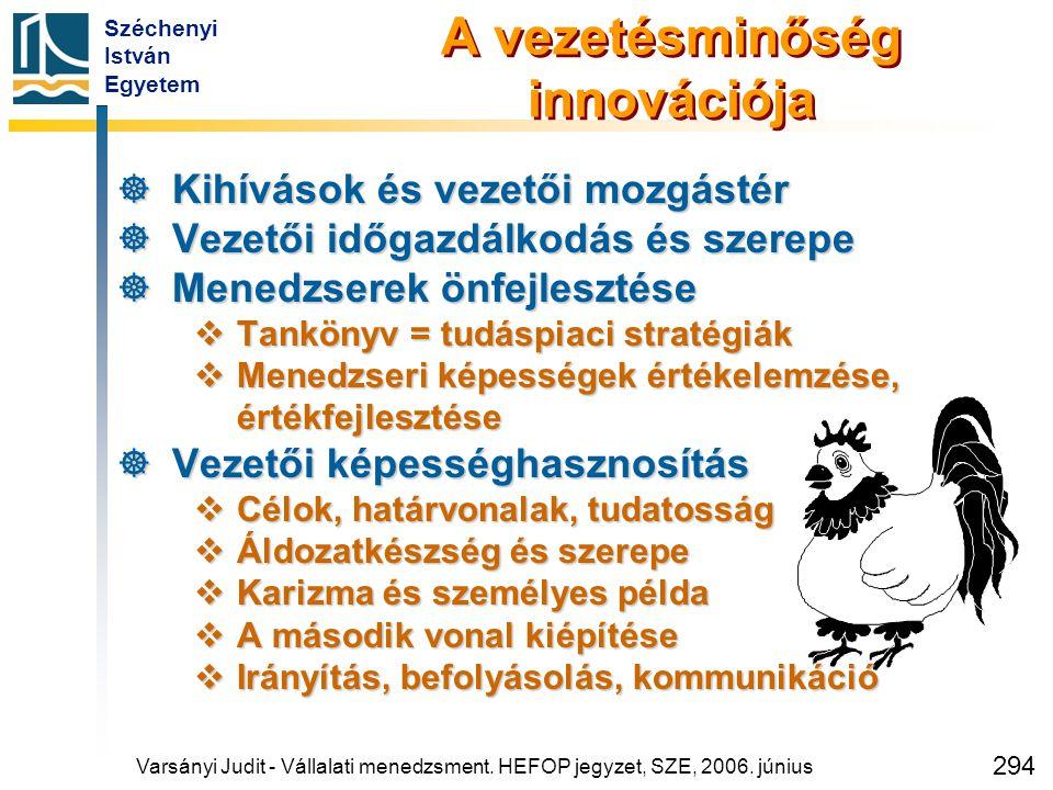 Széchenyi István Egyetem 294 A vezetésminőség innovációja  Kihívások és vezetői mozgástér  Vezetői időgazdálkodás és szerepe  Menedzserek önfejlesz