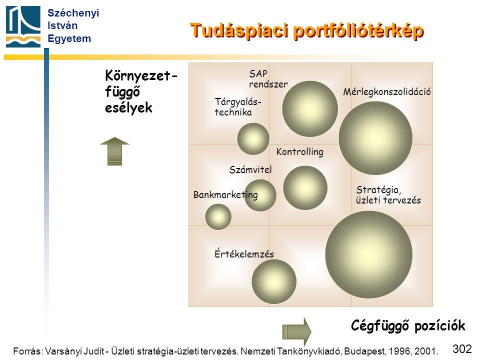 Széchenyi István Egyetem 302 Cégfüggő pozíciók Környezet- függő esélyek Tudáspiaci portfóliótérkép Mérlegkonszolidáció SAP rendszer Tárgyalás- technik