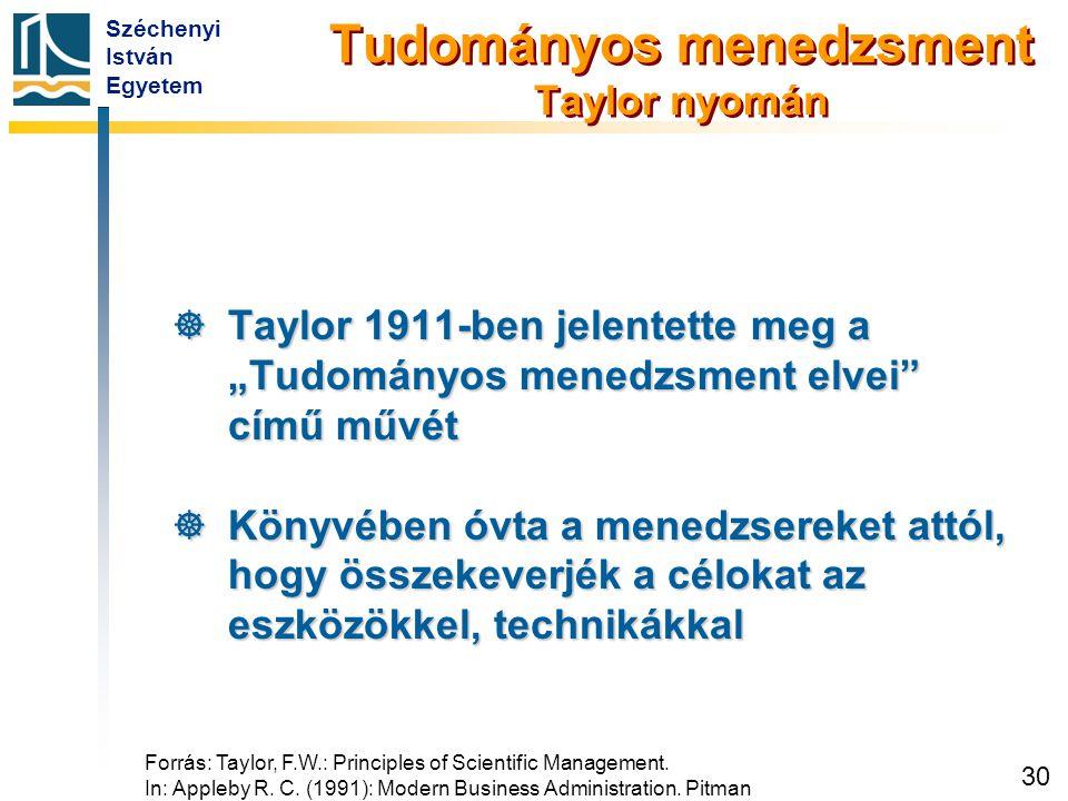 """Széchenyi István Egyetem 30 Tudományos menedzsment Taylor nyomán  Taylor 1911-ben jelentette meg a """"Tudományos menedzsment elvei"""" című művét  Könyvé"""