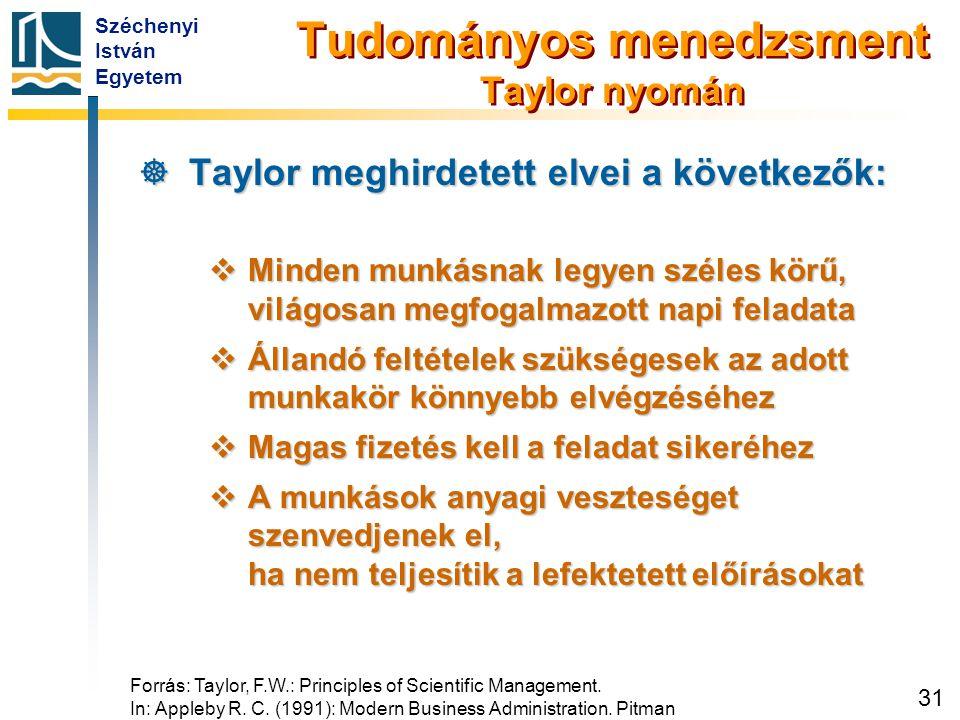 Széchenyi István Egyetem 31 Tudományos menedzsment Taylor nyomán  Taylor meghirdetett elvei a következők:  Minden munkásnak legyen széles körű, vilá