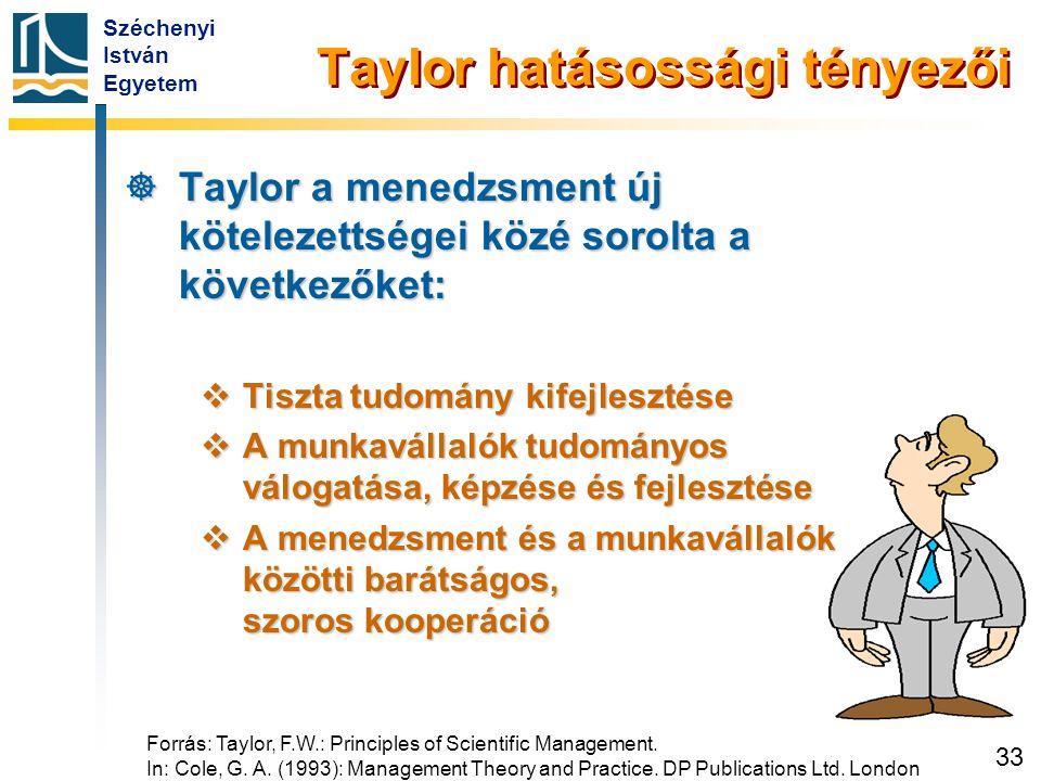 Széchenyi István Egyetem 33 Taylor hatásossági tényezői  Taylor a menedzsment új kötelezettségei közé sorolta a következőket:  Tiszta tudomány kifej